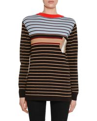 Marni - Crewneck Long-sleeve Striped Wool-knit Sweater W/ Pocket Detail - Lyst