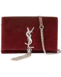 f03cc6d686 Saint Laurent - Kate Velvet Crystal-monogram Ysl Tassel Wallet On Chain -  Lyst