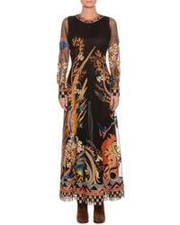 Etro - Round-neck Long-sleeve Embroidered Tulle Evening Gown - Lyst