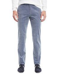 Ermenegildo Zegna - Men's Flat-front Cotton/cashmere Corduroy Trousers - Lyst