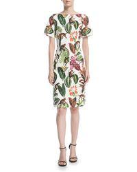 Oscar de la Renta - Short-sleeve Jungle Jacquard Dress - Lyst