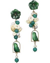 Of Rare Origin - Green Tagua & Pearl Nester Earrings - Lyst