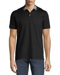 Alexander McQueen - Men's Short-sleeve Cotton Polo Shirt W/ Signature On Collar - Lyst