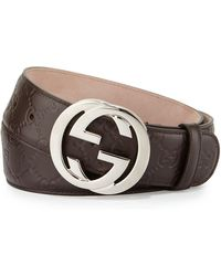 4abbd980fcd78 Lyst - Gucci Embossed Belt With Double G Buckle in Brown for Men