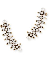 Auden | Bronson Pearly Climber Earrings | Lyst