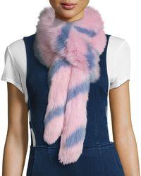 Charlotte Simone - Swirly Striped Fox Fur Scarf - Lyst