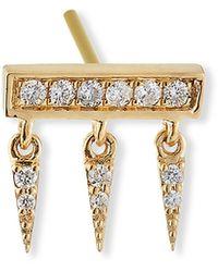 Sydney Evan 14k Diamond Pave Bar Fringe Stud Earring, Single - Metallic