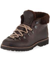 Fracap - Fur-trim Leather Lace-up Boot - Lyst