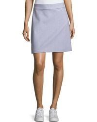Theory - High-waist A-line Striped Stretch-wool Skirt - Lyst