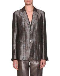 Giorgio Armani - Notched-collar 2-button Windowpane Silk Jacket - Lyst
