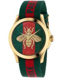 Gucci   38mm Le Marché Des Merveilles Bee Watch W/ Nylon Web Strap   Lyst