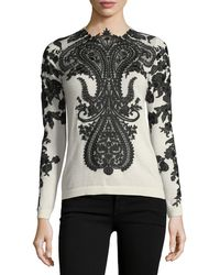 Naeem Khan - Long-sleeve Embroidered-lace Cashmere Sweater - Lyst