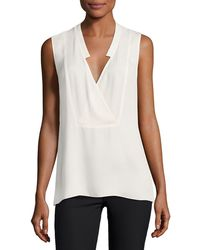 Theory - Crossover Silk Shell Top - Lyst