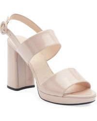3abd3d6ff2 Prada Double-band Platform Wedge Sandals in Black - Lyst