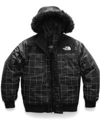 The North Face - Gotham Down Hooded Grid Jacket W/ Faux-fur Trim - Lyst