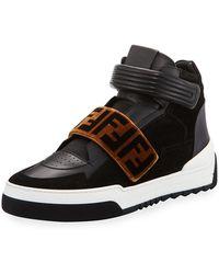 Fendi - Zucca Grip-strap High-top Sneaker - Lyst