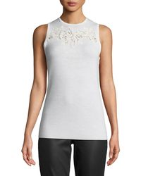 Elie Tahari - Bell Embroidered-yoke Sleeveless Sweater - Lyst
