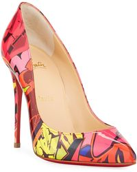 e865c1d55673 Christian Louboutin - Pigalle Follies 100mm Patent Metrograf Red Sole Pumps  - Lyst