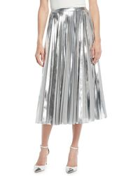 162201104d Ralph Lauren Collection - Nevina Metallic-pleated Midi Skirt - Lyst