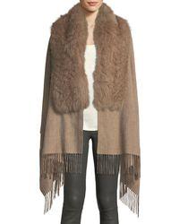 Pologeorgis - Wool Fringe-ends Stole W/ Fur Trim - Lyst