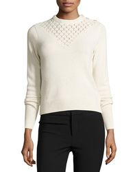 Rebecca Taylor   Pointelle-yoke Pullover Sweater   Lyst