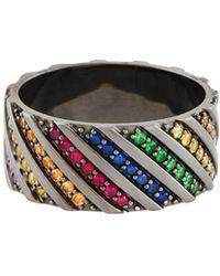 Lana Jewelry - Electric Rainbow Sapphire Band Ring In 14k Black Gold - Lyst