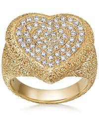 Carolina Bucci - 18k Gold Florentine Pave Heart Ring - Lyst