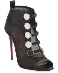 bb7363f4a77b Lyst - Christian Louboutin Guerilla Studded Suede Red Sole Bootie in ...
