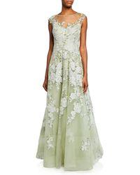 0de8dc3c214a6 Teri Jon 3d Embroidery Floral A-line Gown in Metallic - Lyst
