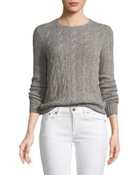 Ralph Lauren Collection - Long-sleeve Crewneck Cashmere Cable-knit Sweater - Lyst