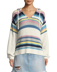FRAME - Striped Dropped-shoulder Hooded Sweater - Lyst
