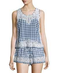Calypso St. Barth - Yunes Embroidered Check-print Top - Lyst