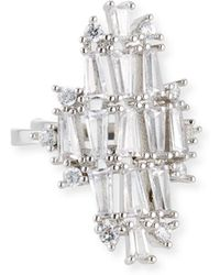 Fallon | Monarch Deco Vertical Crystal Ring | Lyst