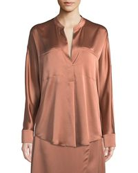 Vince - Band-collar Silk Popover Blouse - Lyst