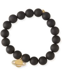 Sydney Evan - 10mm Matte Black Onyx Beaded Bracelet With Diamond Saturn Charm - Lyst