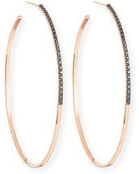 Lana Jewelry - Reckless Vol. 2 Large Femme Hoop Earrings With Black Diamonds In 14k Rose Gold - Lyst