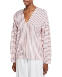 Vince - Variegated Stripe Long-sleeve Pullover Top - Lyst