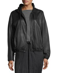 Vince - Lamb Leather Drawstring Zip-front Hooded Jacket - Lyst