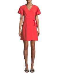 Club Monaco - Geovanna Flutter-sleeve Wrap Dress - Lyst