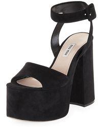 Miu Miu | Suede Platform Block-heel Sandal | Lyst