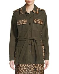 486e3fbbf SKIIM Button-front Suede Military Jacket W/ Leopard Calf Hair Patchwork