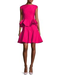 Halston - Cap-sleeve Structured Tiered Flounce Cocktail Dress - Lyst