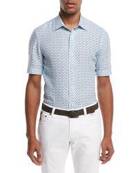 Isaia - Micro-leaves Short-sleeve Sport Shirt - Lyst