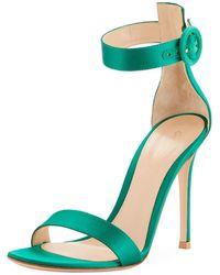 db3fdac3cdba Lyst - Gianvito Rossi Leopard-print Calf Hair Low-heel Sandal