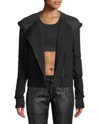 BLANC NOIR - French Terry Mesh Zip-front Moto Jacket - Lyst