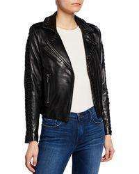 Nour Hammour - Vinyl Lace-up Leather Moto Jacket - Lyst