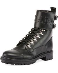 Balmain | Logo-embossed Leather Military Boot | Lyst