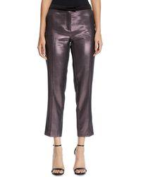 Pinko - Metallic Cropped Straight-leg Pants - Lyst