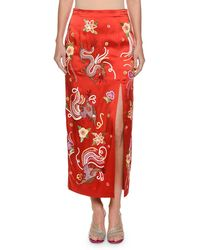 Attico - Envers Embroidered-dragon Satin Slim Skirt With Sequins Trim - Lyst