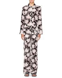 Valentino - Rhododendron-print Crepe De Chine Pajama Top - Lyst